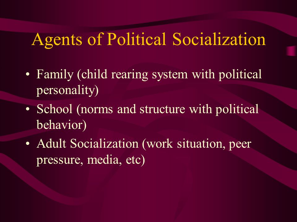 Agents of Political Socialization Family (child rearing system with political personality) School (norms and structure with political behavior) Adult Socialization (work situation, peer pressure, media, etc)