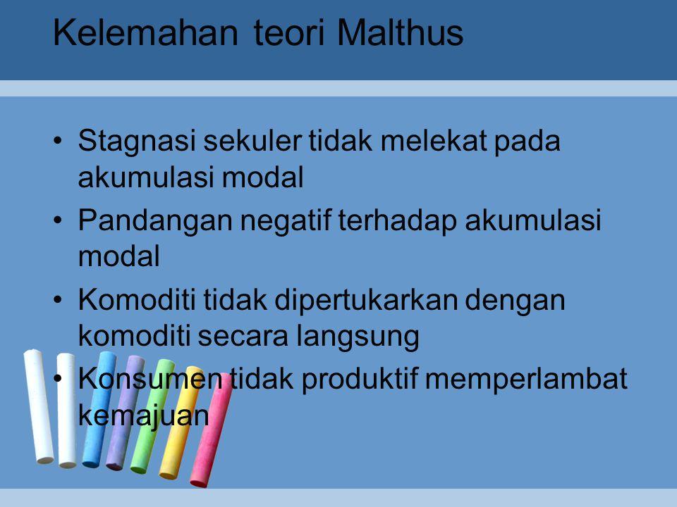 Saran yang diajukan oleh Malthus untuk meningkatkan pembangunan ekonomi  Pertumbuhan yang berimbang.  Pertumbuhan yang berimbang. Di dalam sistem Ma