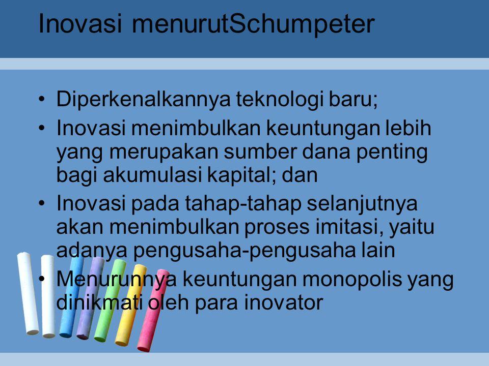 Teori Schumpeter Josept Schumpeter hidup di zaman modern (1883-1950), teorinya diungkapkan dalam suatu kerangka analisis sosial yang luas seperti halnya ekonom Klasik Bukunya yang mengungkapkan pertumbuhan ekonomi Theory of Economic Development (1911), kemudian diuraikan dalam buku Business Cycles (1939), dan Capitalsm, Socialism, and Democracy (1942) Schumpeter mengasumsikan adanya perekonomian persaingan sempurna yang berada dalam keseimbangan mantap (Steady State economic) Unsur pertama pembangunanteletak pada adanya kombinasi baru dalam kegiatan pembangunan berupa inovasi yang pelakunya adalah wiraswasta atau inovator atau entrepreuner