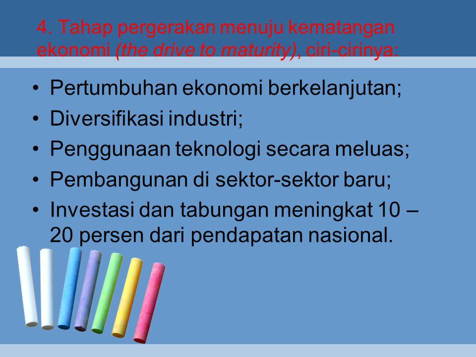 3. Tahap tinggal landas (the take-off), yaitu ditandai dengan:  Industrialisasi meningkat;  Tabungan dan investasi semakin meningkat;  Peningkatan