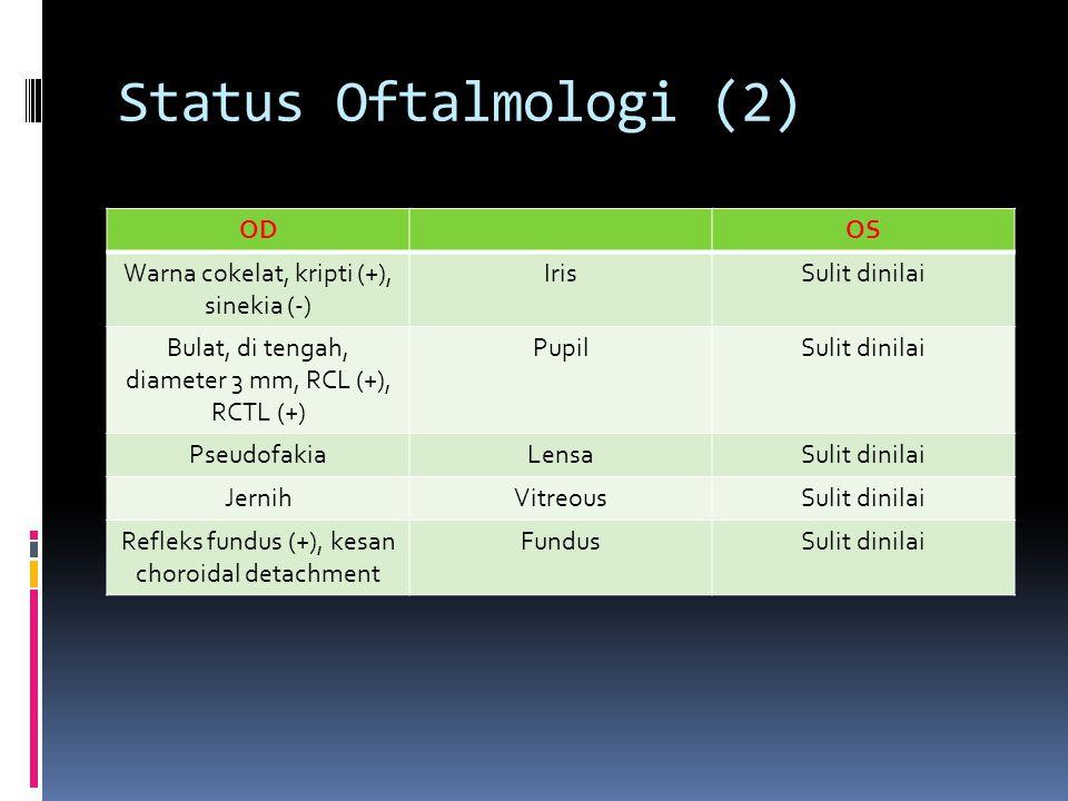 Status Oftalmologi (2) ODOS Warna cokelat, kripti (+), sinekia (-) IrisSulit dinilai Bulat, di tengah, diameter 3 mm, RCL (+), RCTL (+) PupilSulit din