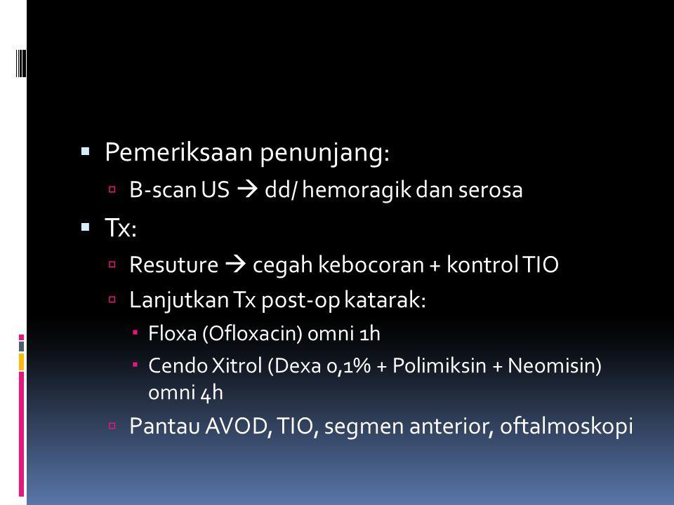  Pemeriksaan penunjang:  B-scan US  dd/ hemoragik dan serosa  Tx:  Resuture  cegah kebocoran + kontrol TIO  Lanjutkan Tx post-op katarak:  Flo