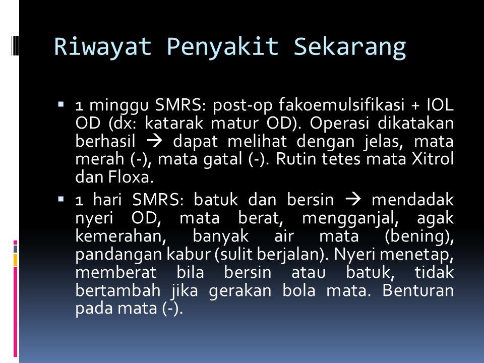 Riwayat Penyakit Sekarang  1 minggu SMRS: post-op fakoemulsifikasi + IOL OD (dx: katarak matur OD). Operasi dikatakan berhasil  dapat melihat dengan