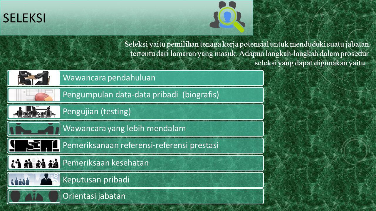 SELEKSI Wawancara pendahuluan Pengumpulan data-data pribadi (biografis) Pengujian (testing) Wawancara yang lebih mendalam Pemeriksanaan referensi-refe