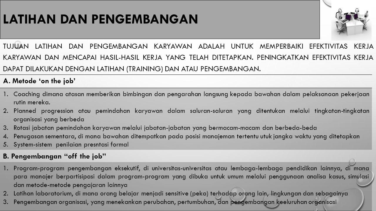 LATIHAN DAN PENGEMBANGAN A. Metode 'on the job' 1.Coaching dimana atasan memberikan bimbingan dan pengarahan langsung kepada bawahan dalam pelaksanaan