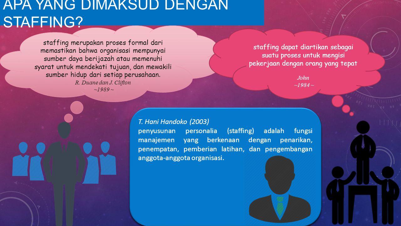 T. Hani Handoko (2003) penyusunan personalia (staffing) adalah fungsi manajemen yang berkenaan dengan penarikan, penempatan, pemberian latihan, dan pe