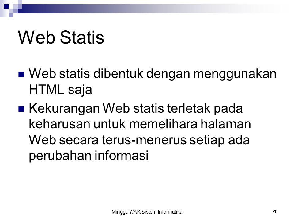Minggu 7/AK/Sistem Informatika4 Web Statis Web statis dibentuk dengan menggunakan HTML saja Kekurangan Web statis terletak pada keharusan untuk memeli
