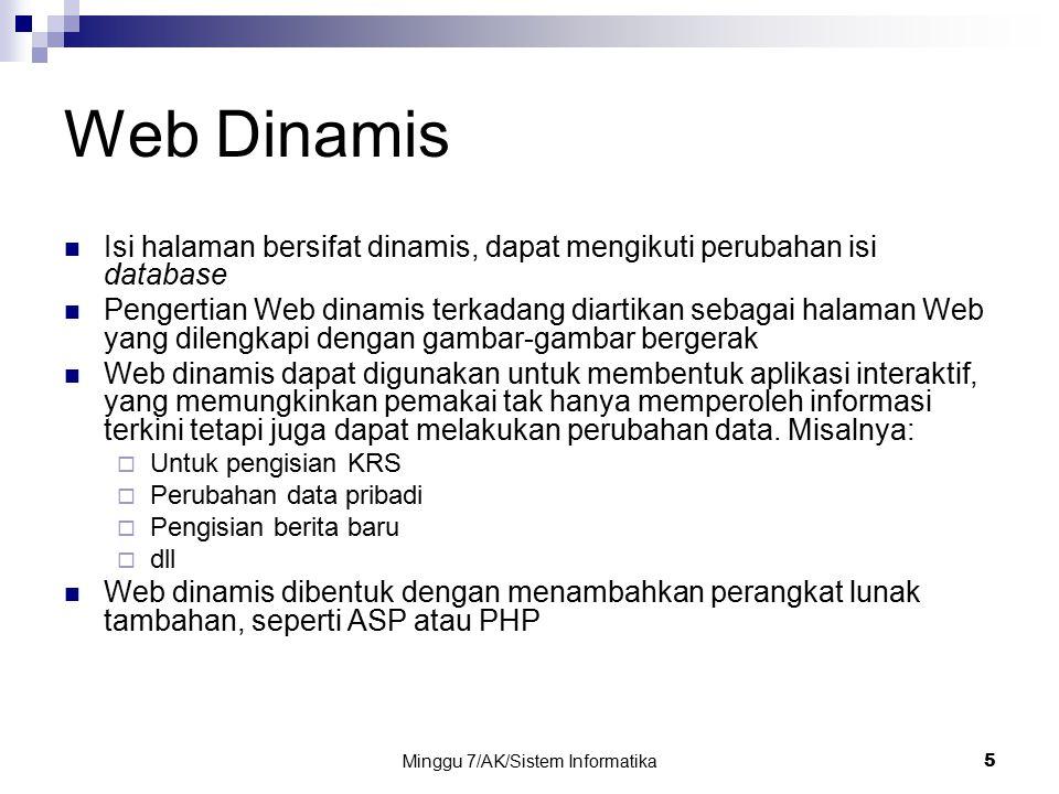 Minggu 7/AK/Sistem Informatika5 Web Dinamis Isi halaman bersifat dinamis, dapat mengikuti perubahan isi database Pengertian Web dinamis terkadang diar