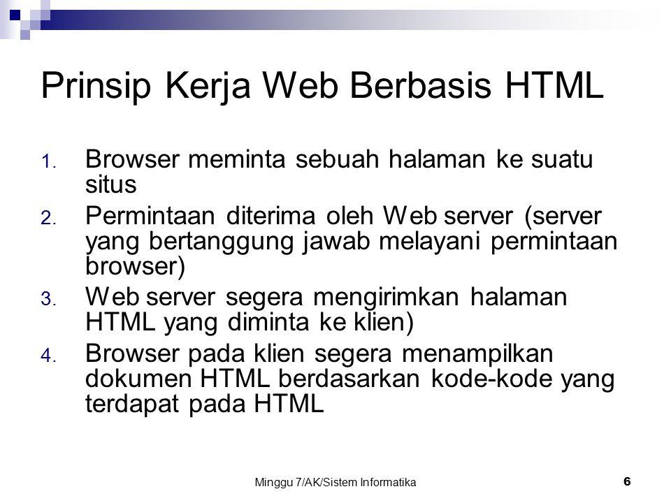 Minggu 7/AK/Sistem Informatika6 Prinsip Kerja Web Berbasis HTML 1. Browser meminta sebuah halaman ke suatu situs 2. Permintaan diterima oleh Web serve