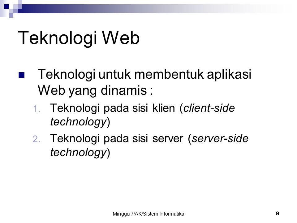 Minggu 7/AK/Sistem Informatika9 Teknologi Web Teknologi untuk membentuk aplikasi Web yang dinamis : 1. Teknologi pada sisi klien (client-side technolo
