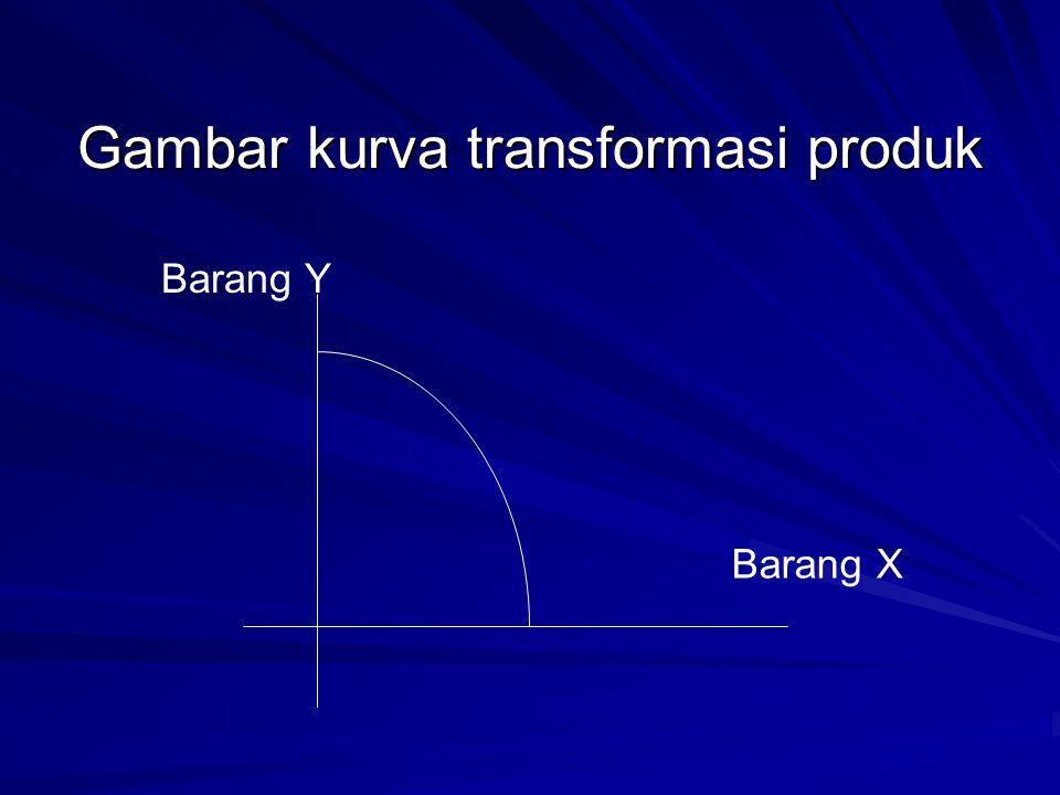 Kurva Transformasi Produk (2)  Kurva yang digunakan : kurva ellips, parabola, ataupun hiperbola  Secara rasional ekonomis kurva transformasi produk