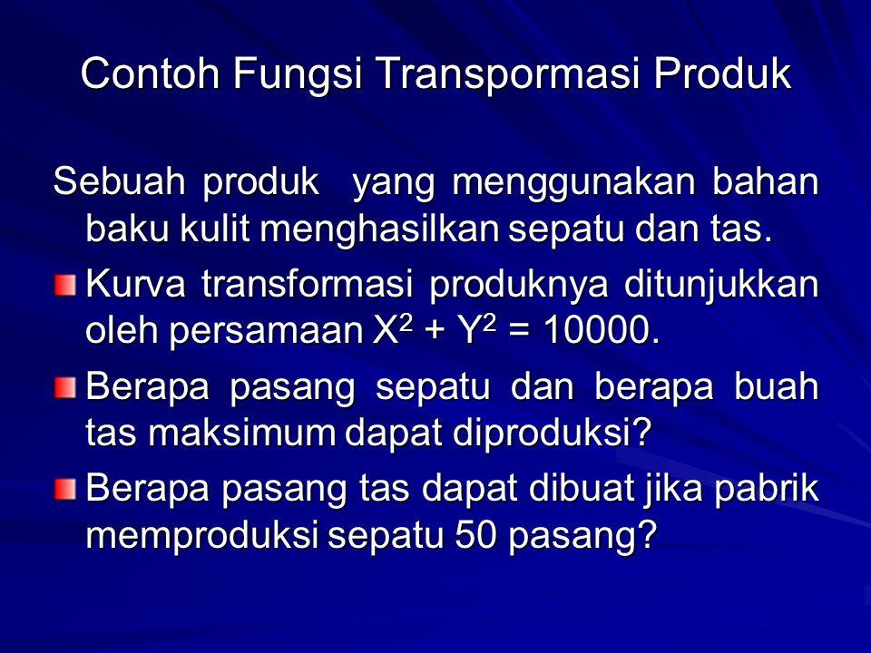 Contoh Fungsi Transpormasi Produk Sebuah produk yang menggunakan bahan baku kulit menghasilkan sepatu dan tas.