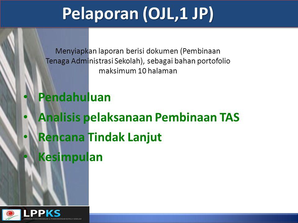 Pendahuluan Analisis pelaksanaan Pembinaan TAS Rencana Tindak Lanjut Kesimpulan Pelaporan (OJL,1 JP) Menyiapkan laporan berisi dokumen (Pembinaan Tena