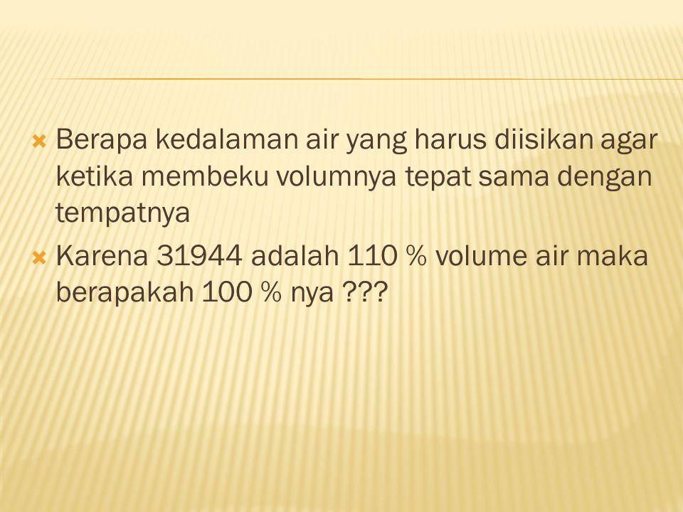  Berapa kedalaman air yang harus diisikan agar ketika membeku volumnya tepat sama dengan tempatnya  Karena 31944 adalah 110 % volume air maka berapa