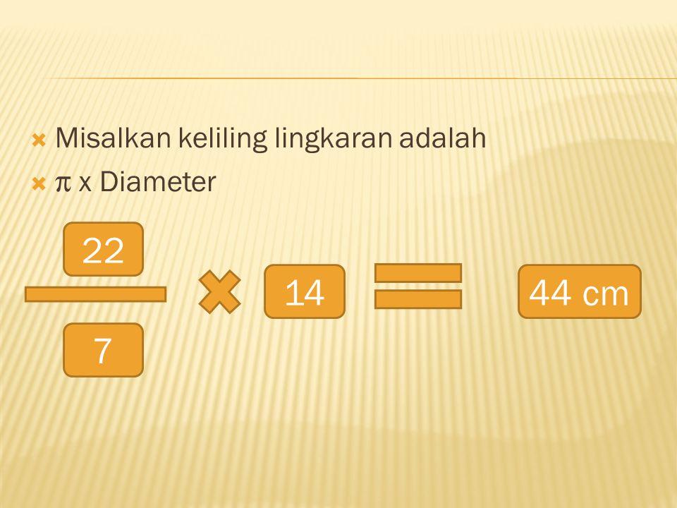  Misalkan keliling lingkaran adalah   x Diameter 22 7 1444 cm