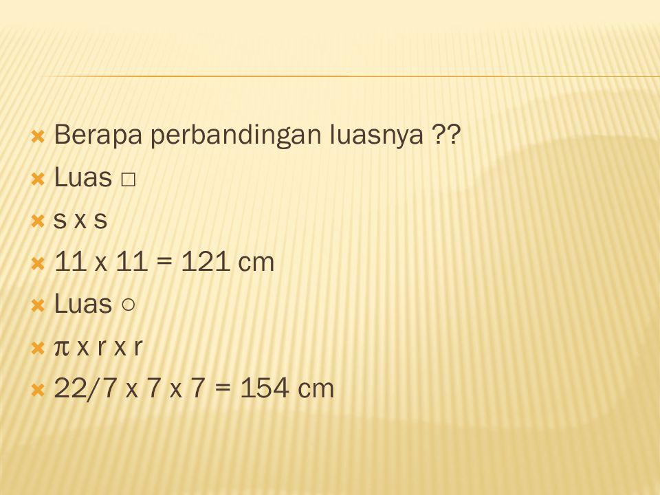  Berapa perbandingan luasnya ??  Luas □  s x s  11 x 11 = 121 cm  Luas ○   x r x r  22/7 x 7 x 7 = 154 cm