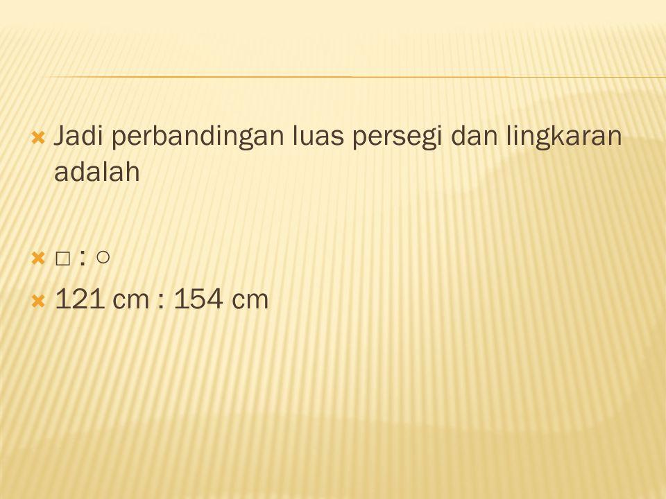  Jadi perbandingan luas persegi dan lingkaran adalah  □ : ○  121 cm : 154 cm