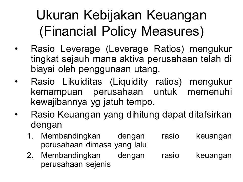 Ukuran Kebijakan Keuangan (Financial Policy Measures) Rasio Leverage (Leverage Ratios) mengukur tingkat sejauh mana aktiva perusahaan telah di biayai