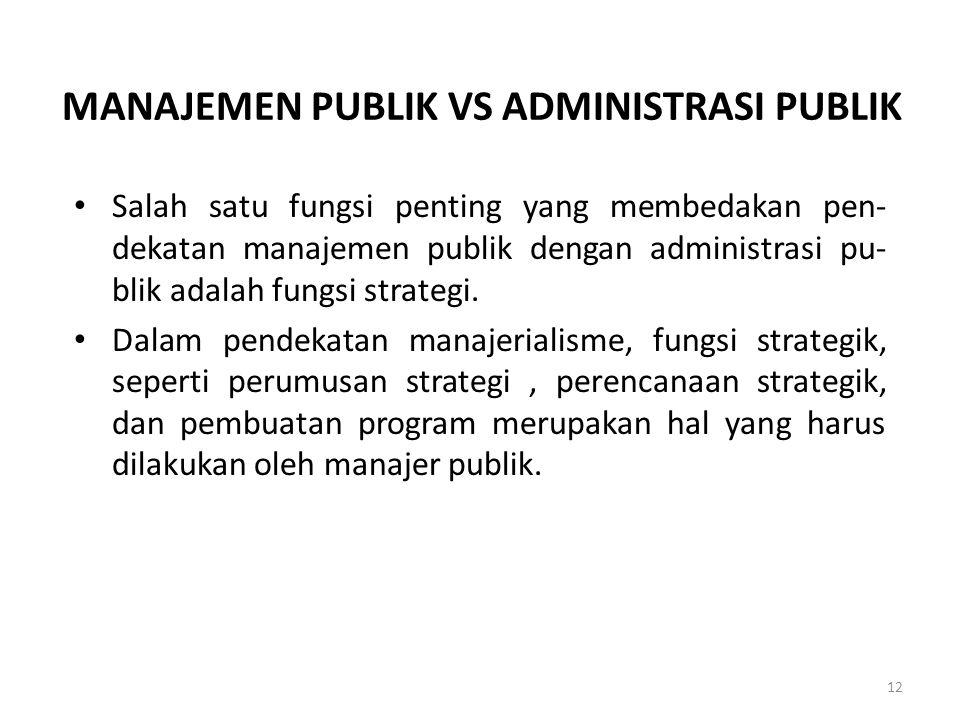 MANAJEMEN PUBLIK VS ADMINISTRASI PUBLIK Salah satu fungsi penting yang membedakan pen- dekatan manajemen publik dengan administrasi pu- blik adalah fu