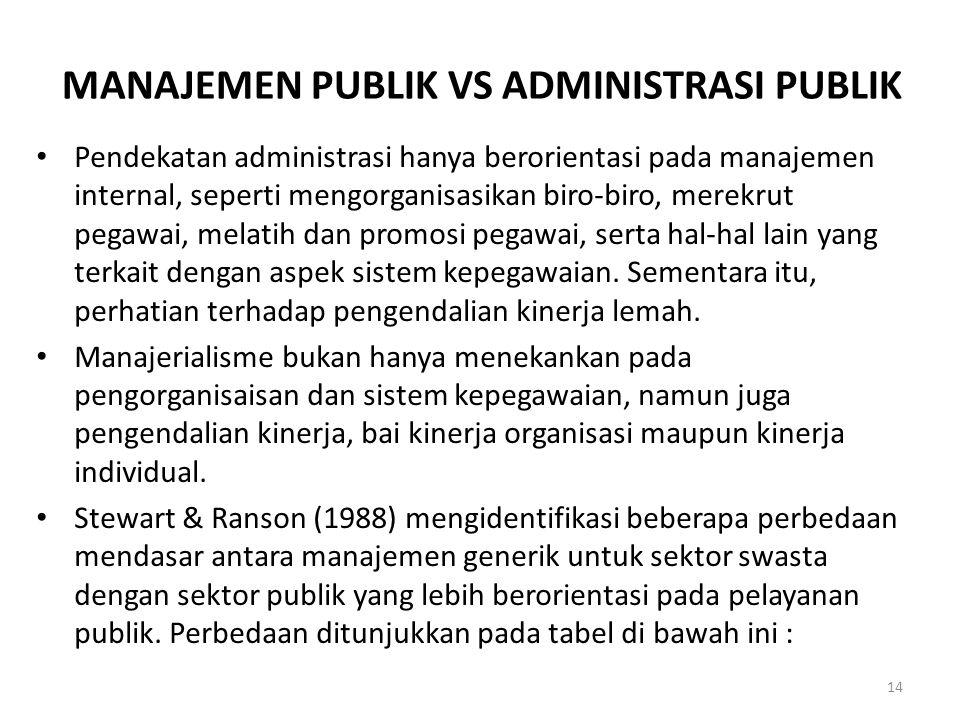 MANAJEMEN PUBLIK VS ADMINISTRASI PUBLIK Pendekatan administrasi hanya berorientasi pada manajemen internal, seperti mengorganisasikan biro-biro, merek