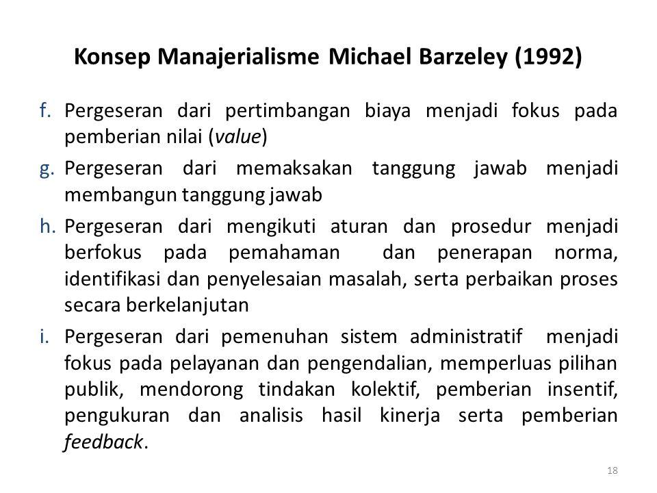 Konsep Manajerialisme Michael Barzeley (1992) f.Pergeseran dari pertimbangan biaya menjadi fokus pada pemberian nilai (value) g.Pergeseran dari memaks
