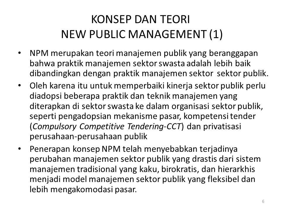 KONSEP DAN TEORI NEW PUBLIC MANAGEMENT (1) NPM merupakan teori manajemen publik yang beranggapan bahwa praktik manajemen sektor swasta adalah lebih baik dibandingkan dengan praktik manajemen sektor sektor publik.