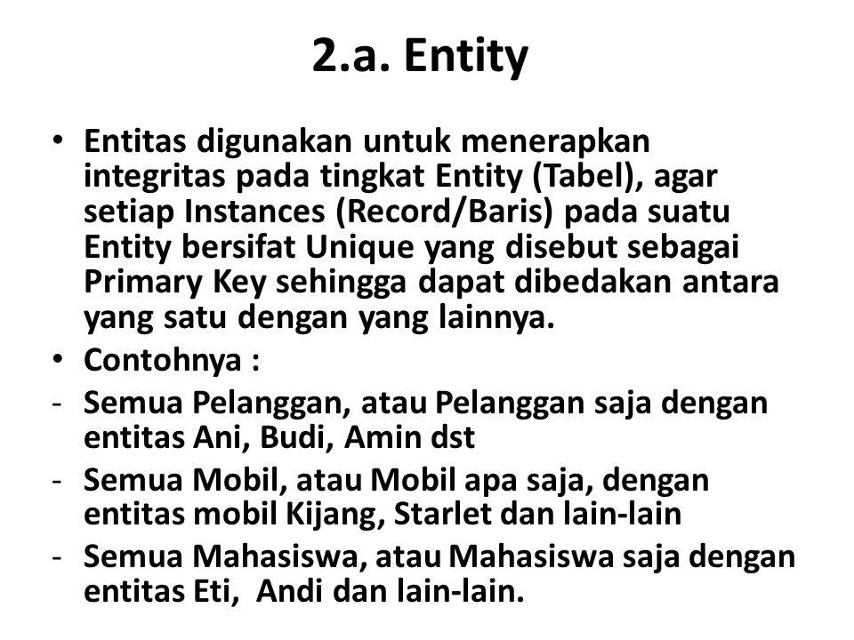 2.a. Entity Entitas digunakan untuk menerapkan integritas pada tingkat Entity (Tabel), agar setiap Instances (Record/Baris) pada suatu Entity bersifat