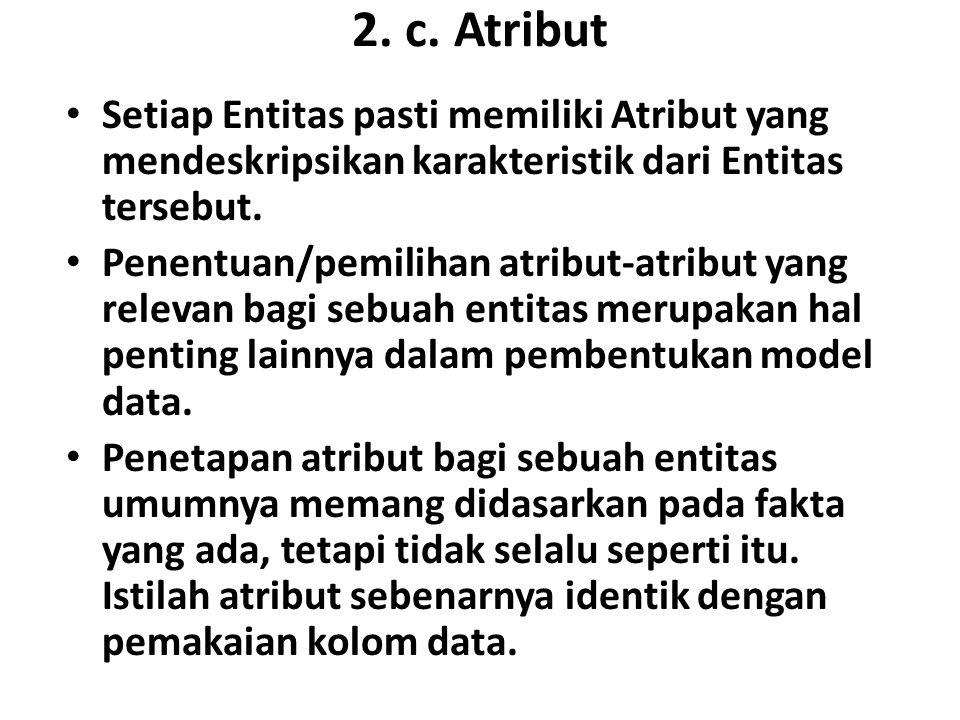 2. c. Atribut Setiap Entitas pasti memiliki Atribut yang mendeskripsikan karakteristik dari Entitas tersebut. Penentuan/pemilihan atribut-atribut yang