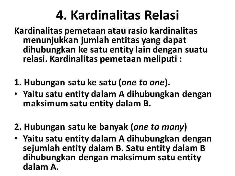 4. Kardinalitas Relasi Kardinalitas pemetaan atau rasio kardinalitas menunjukkan jumlah entitas yang dapat dihubungkan ke satu entity lain dengan suat