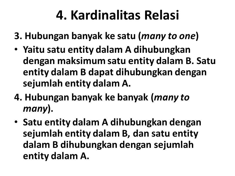 4. Kardinalitas Relasi 3. Hubungan banyak ke satu (many to one) Yaitu satu entity dalam A dihubungkan dengan maksimum satu entity dalam B. Satu entity