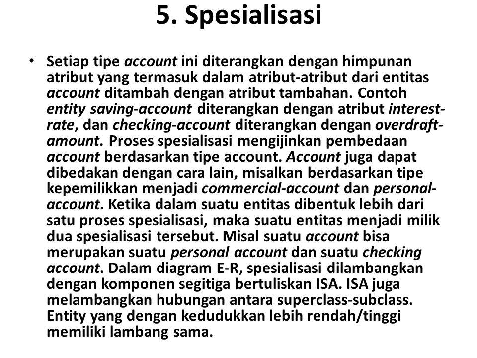 5. Spesialisasi Setiap tipe account ini diterangkan dengan himpunan atribut yang termasuk dalam atribut-atribut dari entitas account ditambah dengan a
