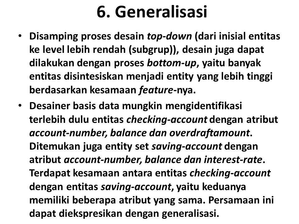 6. Generalisasi Disamping proses desain top-down (dari inisial entitas ke level lebih rendah (subgrup)), desain juga dapat dilakukan dengan proses bot