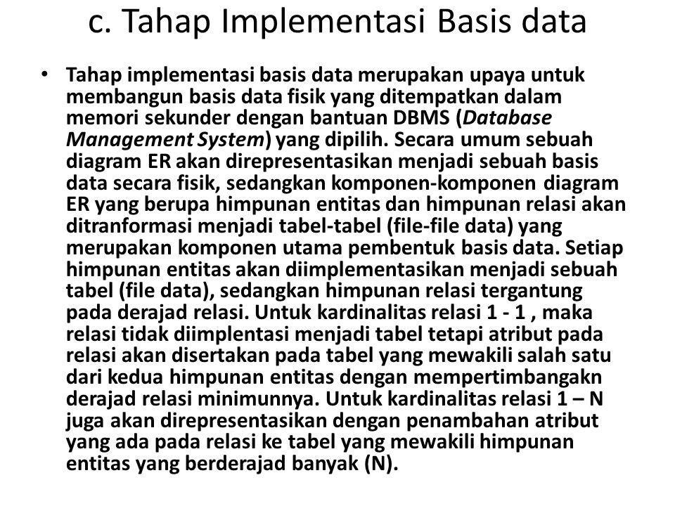 c. Tahap Implementasi Basis data Tahap implementasi basis data merupakan upaya untuk membangun basis data fisik yang ditempatkan dalam memori sekunder