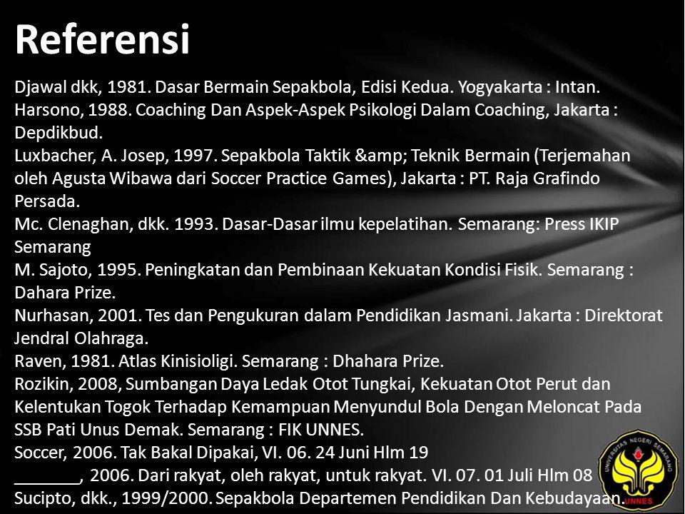 Referensi Djawal dkk, 1981. Dasar Bermain Sepakbola, Edisi Kedua.