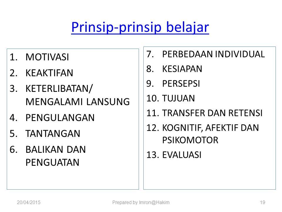 Prinsip-prinsip belajar 1.MOTIVASI 2.KEAKTIFAN 3.KETERLIBATAN/ MENGALAMI LANSUNG 4.PENGULANGAN 5.TANTANGAN 6.BALIKAN DAN PENGUATAN 7.