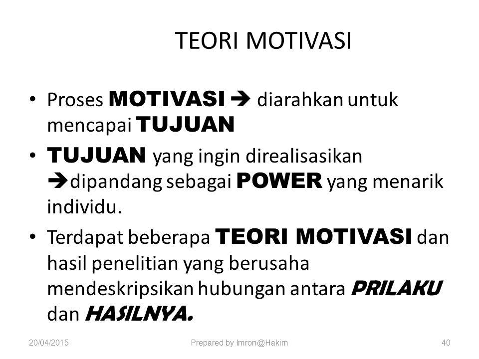 TEORI MOTIVASI Proses MOTIVASI  diarahkan untuk mencapai TUJUAN TUJUAN yang ingin direalisasikan  dipandang sebagai POWER yang menarik individu.