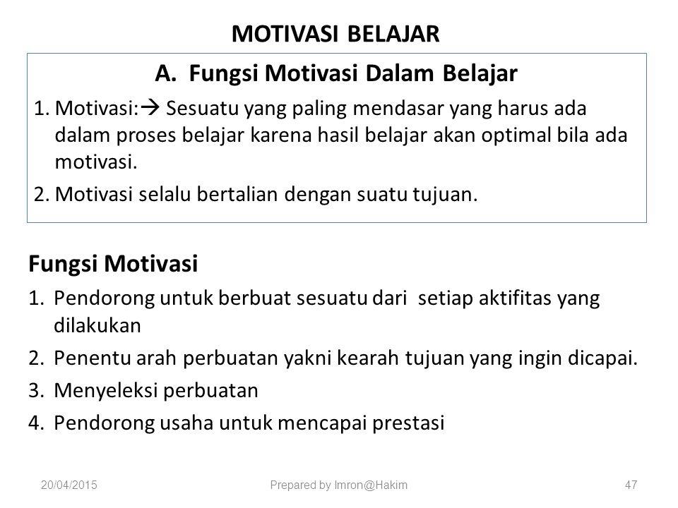 MOTIVASI BELAJAR A.Fungsi Motivasi Dalam Belajar 1.Motivasi:  Sesuatu yang paling mendasar yang harus ada dalam proses belajar karena hasil belajar akan optimal bila ada motivasi.