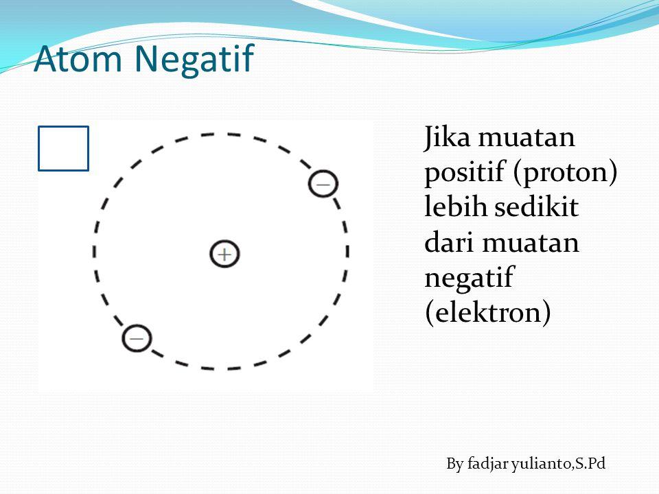 Atom Positif Jika jumlah muatan positif (proton) lebih banyak jika dibandingkan dengan muatan negatif (elektron) By fadjar yulianto,S.Pd