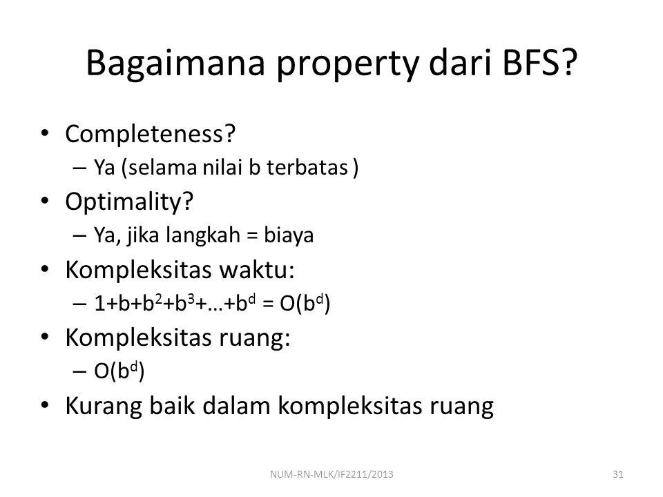 Bagaimana property dari BFS? Completeness? – Ya (selama nilai b terbatas ) Optimality? – Ya, jika langkah = biaya Kompleksitas waktu: – 1+b+b 2 +b 3 +