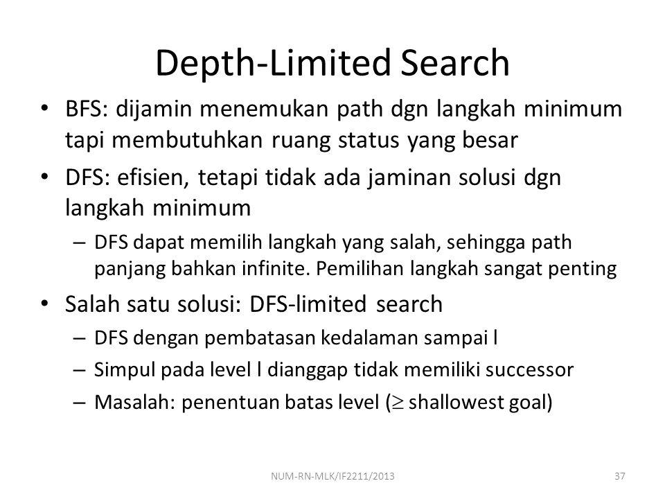 NUM-RN-MLK/IF2211/201337 Depth-Limited Search BFS: dijamin menemukan path dgn langkah minimum tapi membutuhkan ruang status yang besar DFS: efisien, t