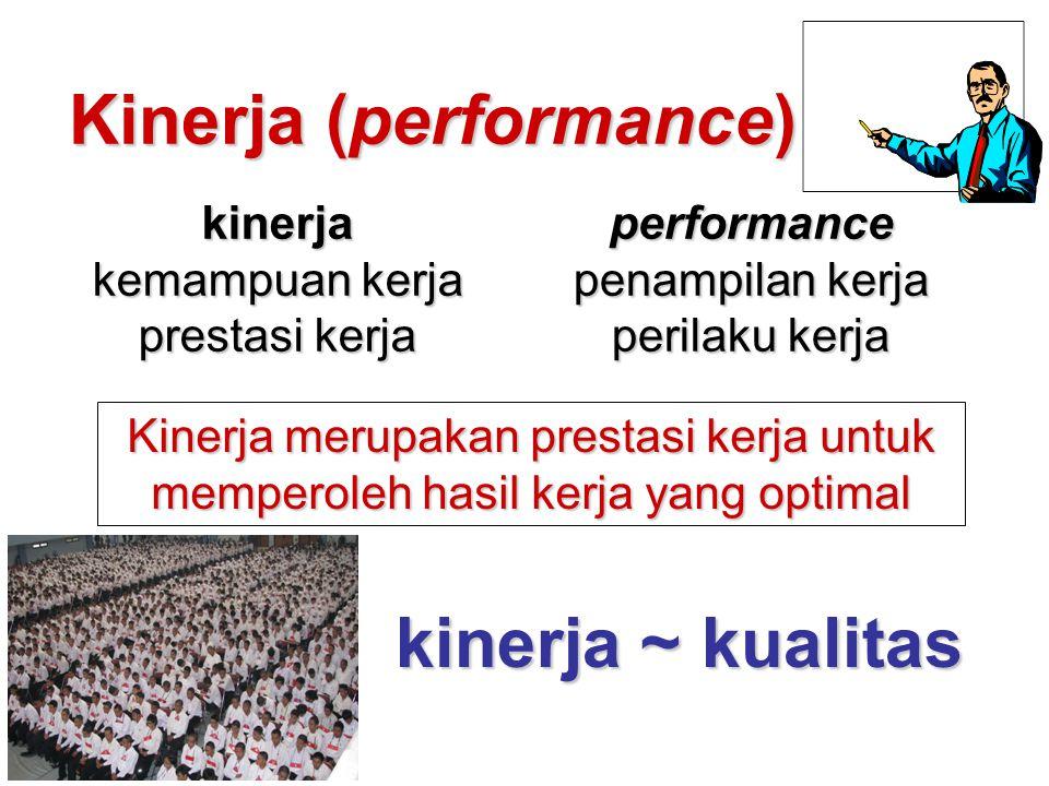 Kinerja (performance) kinerja kemampuan kerja prestasi kerja performance penampilan kerja perilaku kerja Kinerja merupakan prestasi kerja untuk memper