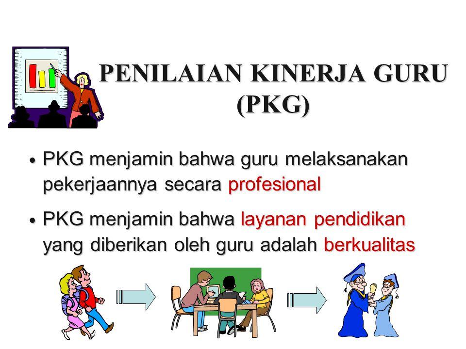 PENILAIAN KINERJA GURU (PKG) PKG menjamin bahwa guru melaksanakan pekerjaannya secara profesional PKG menjamin bahwa guru melaksanakan pekerjaannya se