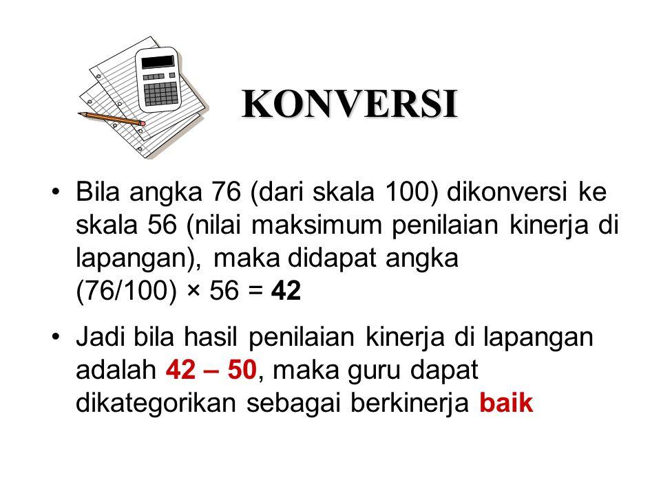 KONVERSI Bila angka 76 (dari skala 100) dikonversi ke skala 56 (nilai maksimum penilaian kinerja di lapangan), maka didapat angka (76/100) × 56 = 42 J