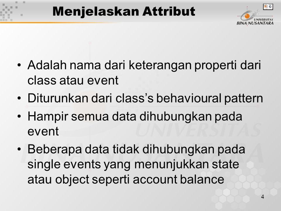 4 Menjelaskan Attribut Adalah nama dari keterangan properti dari class atau event Diturunkan dari class's behavioural pattern Hampir semua data dihubungkan pada event Beberapa data tidak dihubungkan pada single events yang menunjukkan state atau object seperti account balance