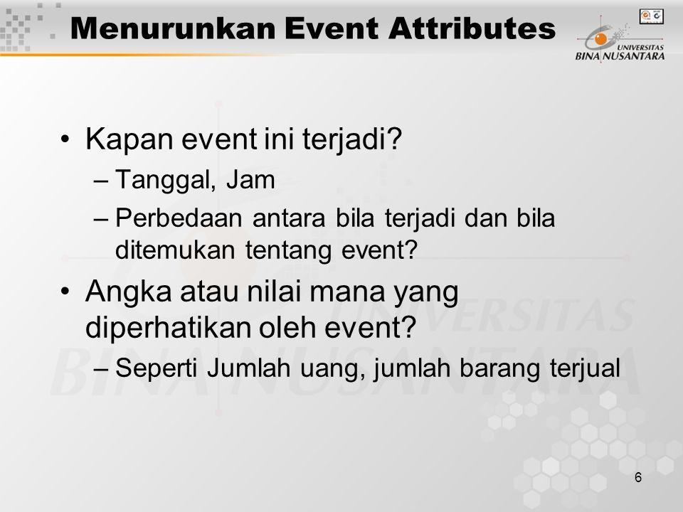 6 Menurunkan Event Attributes Kapan event ini terjadi? –Tanggal, Jam –Perbedaan antara bila terjadi dan bila ditemukan tentang event? Angka atau nilai