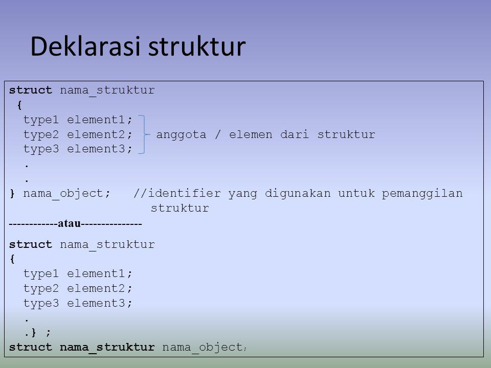 Deklarasi struktur struct nama_struktur { type1 element1; type2 element2;anggota / elemen dari struktur type3 element3;. } nama_object; //identifier y