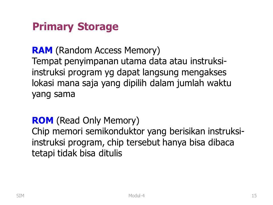 Modul-415 RAM (Random Access Memory) Tempat penyimpanan utama data atau instruksi- instruksi program yg dapat langsung mengakses lokasi mana saja yang