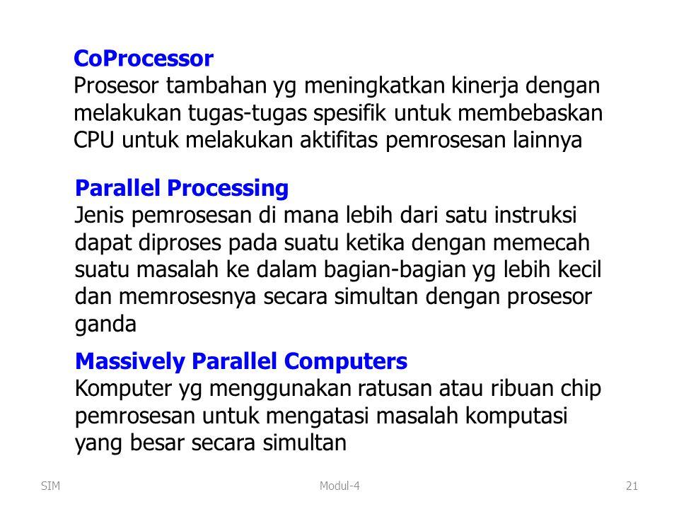Modul-421 CoProcessor Prosesor tambahan yg meningkatkan kinerja dengan melakukan tugas-tugas spesifik untuk membebaskan CPU untuk melakukan aktifitas