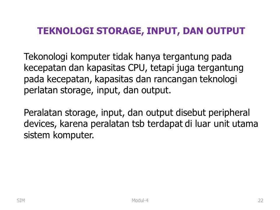 Modul-422 TEKNOLOGI STORAGE, INPUT, DAN OUTPUT Tekonologi komputer tidak hanya tergantung pada kecepatan dan kapasitas CPU, tetapi juga tergantung pad