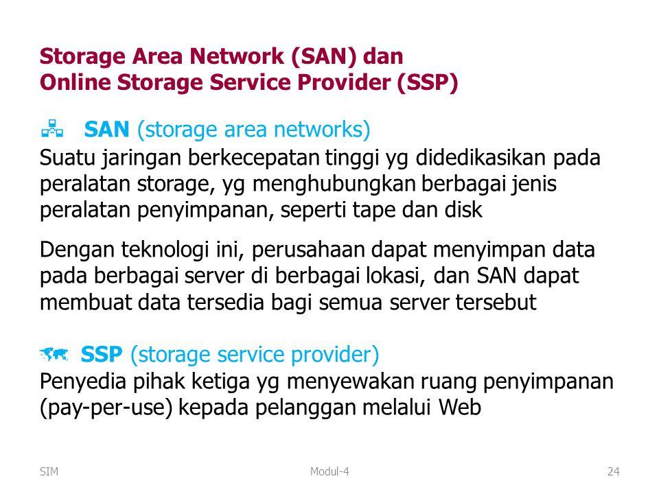 Modul-424  SAN (storage area networks) Suatu jaringan berkecepatan tinggi yg didedikasikan pada peralatan storage, yg menghubungkan berbagai jenis pe